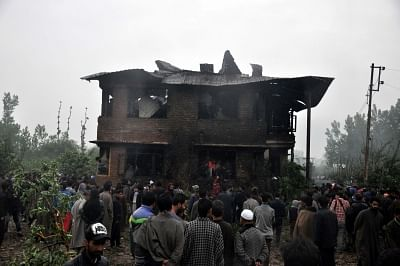 Pulwama: Locals gather at the site where Kashmir