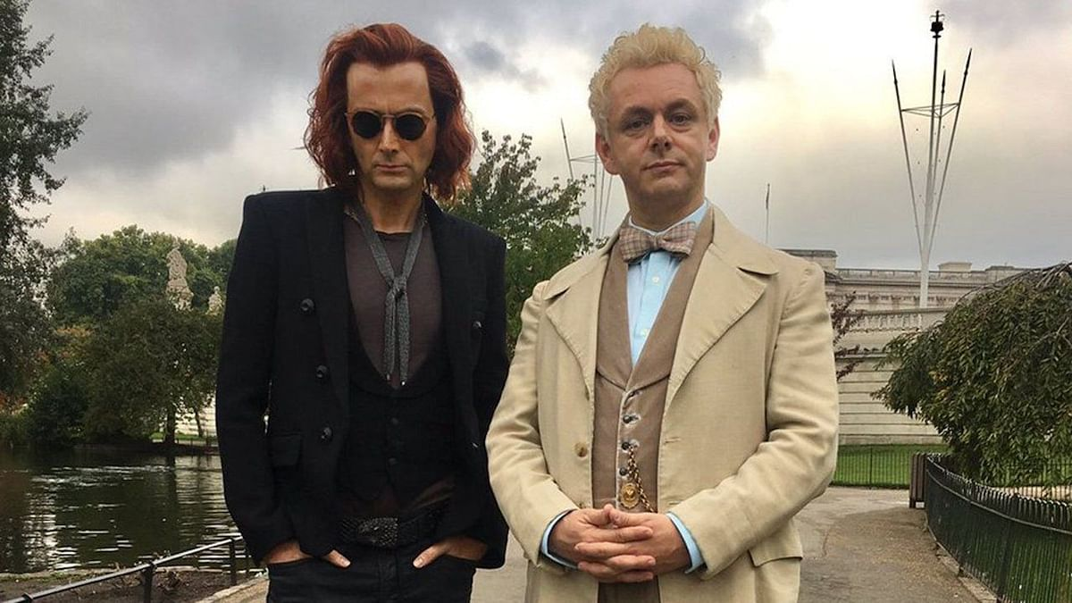 David Tennant, as the demon Crowley, and Martin Sheen, as the angel Aziraphale, in <i>Good Omens</i>.