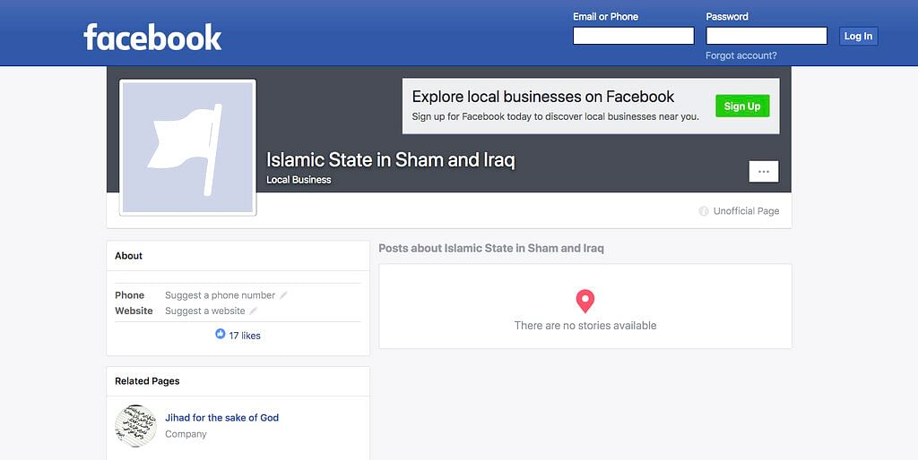 A Facebook page for an auto generated Facebook page for a local business, translated into English from Arabic, calling itself 'Islamic State in Sham and Iraq.