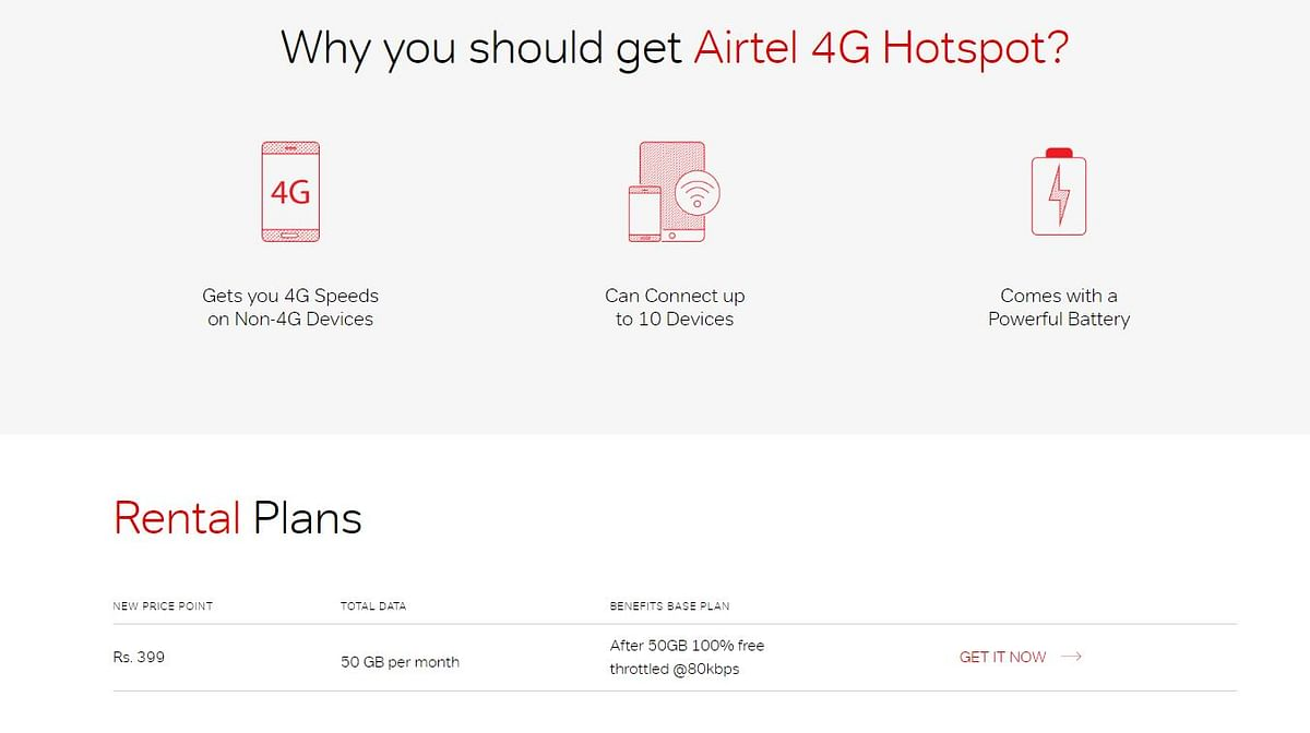 Airtel's 4G Hotspot Router Now Available for Rs 399 With 50GB Data