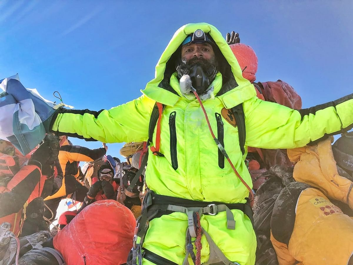 Kuntal Joisher during the climb to Everest.
