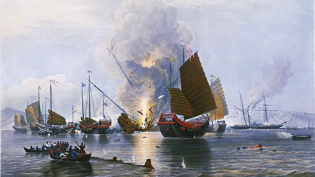 The Opium Wars: The East India Company iron steam ship Nemesis, destroying the Chinese war junks in Anson's Bay, on 7 January 1841.