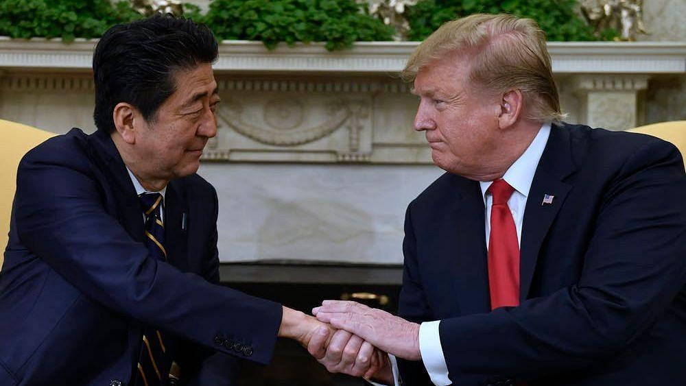 Japan Prime Minister Shinzo Abe with US President Donald Trump.