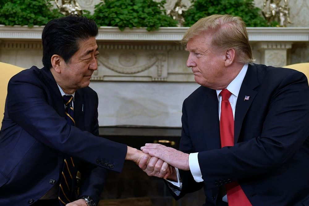Abe and Trump met at the White House for trade talks on April 26, 2019.