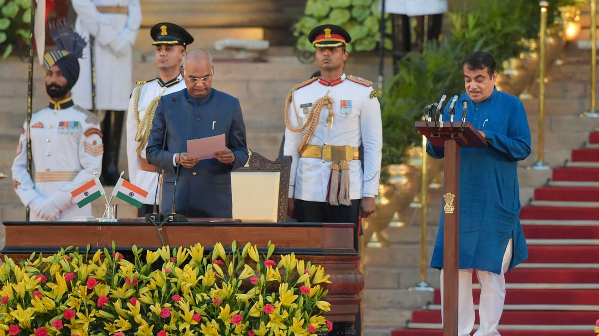 Nitin Gadkari being sworn-in as a Cabinet minister by President Ram Nath Kovind during the oath taking ceremony.