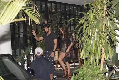 Mumbai: Actor Farhan Akhtar and Shibani Dandekar seen outside a restaurant in Mumbai