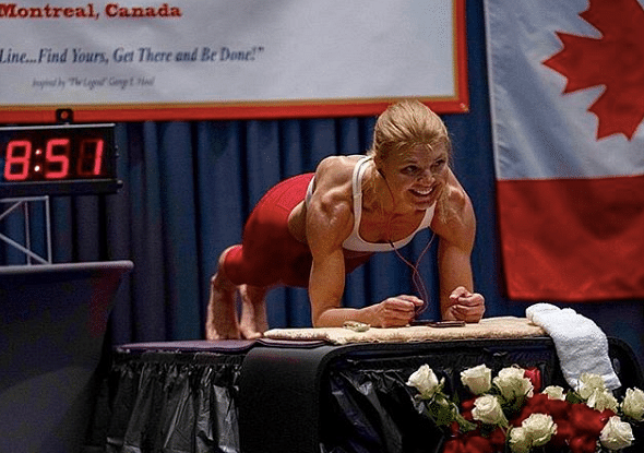 Dana Glowacka in the middle of Longest Plank ever held by a woman.