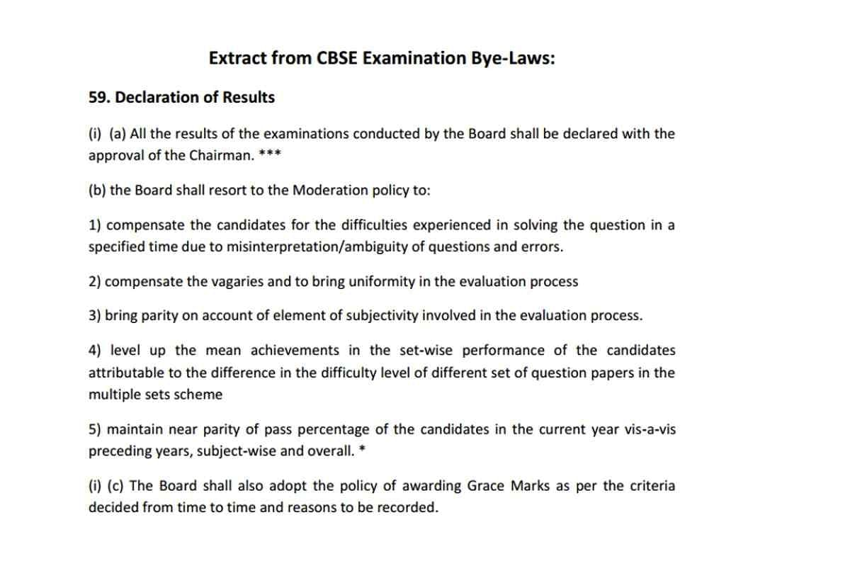 CBSE's moderation policy from the board's bye-laws.