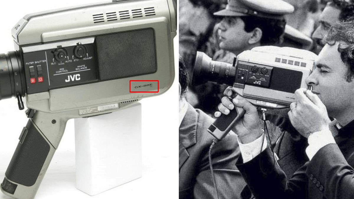 Left: Image of JVC GX-88E. Right: Rajiv Gandhi holding the same camera.
