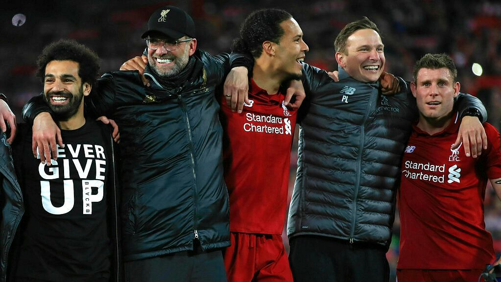 Van Dijk (centre) helped Liverpool keep a clean sheet in a 4-0 victory over Barcelona.