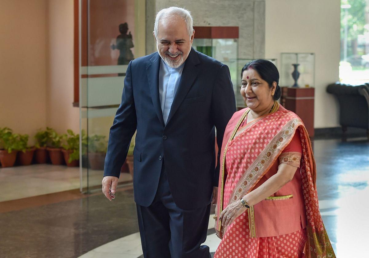 External Affairs Minister Sushma Swaraj and her Iranian counterpart Javad Zarif.