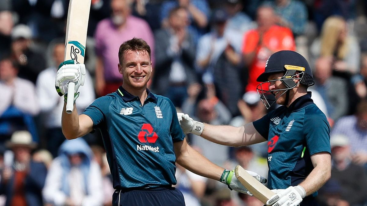 England's Jos Buttler celebrates scoring a century during the second ODI against Pakistan on 11 May 2019.