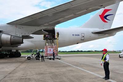 Chinese cargo plane with aid arrives in Venezuela . (Xinhua/Zhang Jianhua/IANS)