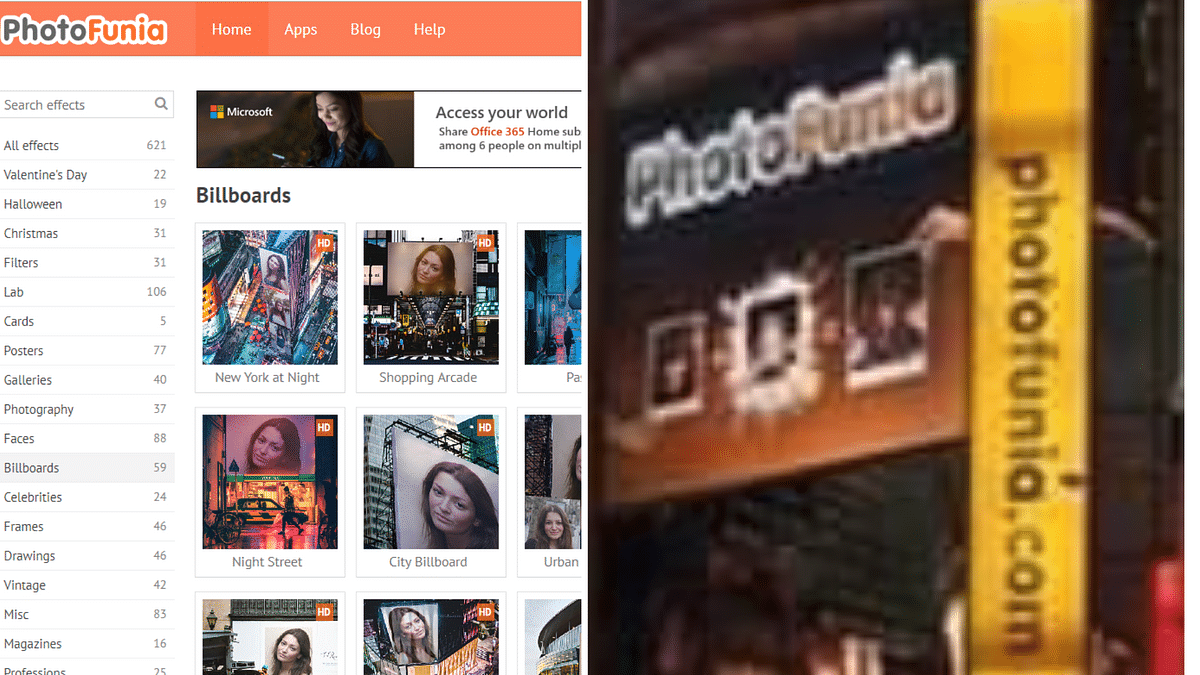 Left: Free templates available on the photo editing website. Right: Branding of photofunia.com seen on the viral image.