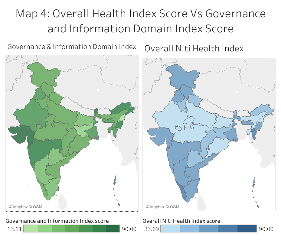 Map 4: Overall Health Index Score Vs Governance and Information Domain Index Score