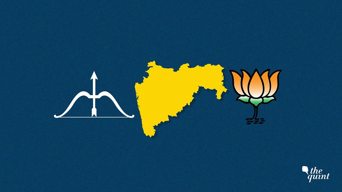 Image of Maharashtra map and Shiv Sena symbol (L) and BJP symbol (R) used for representational purposes.