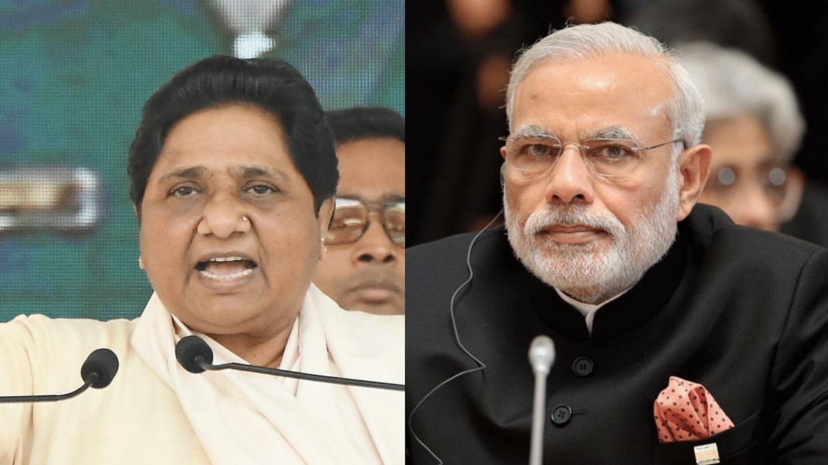 BSP supremo Mayawati (left) and PM Modi (right).