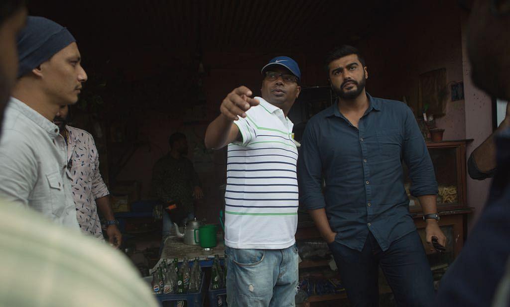 Filmmaker Raj Kumar Gupta with Arjun Kapoor on the sets of <i>India's Most Wanted.</i>