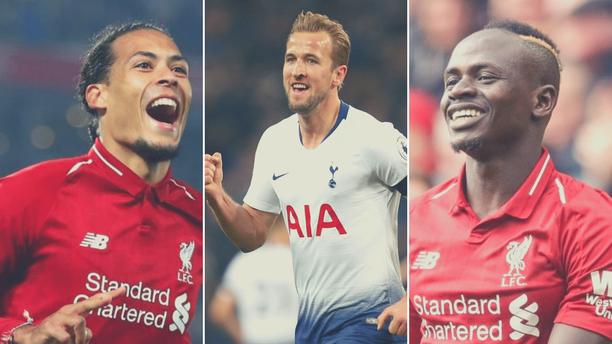 From left to right: Virgil van Dijk, Harry Kane and Sadio Mane