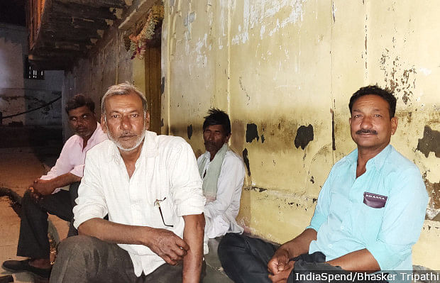 """""""Modiji is paying us Rs 6,000 a year. This amount can't even buy clothes for my family of five. Has he never visited a farmer's house?"""" Om Prakash (white shirt), like most farmers in Kodia village in Bhopal, Madhya Pradesh, is upset that all farmer issues have been forgotten in election frenzy."""