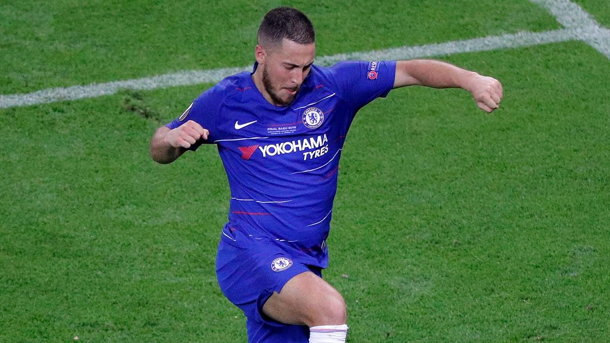 Chelsea's Eden Hazard celebrates after scoring his team's fourth goal during the Europa League Final  match between Chelsea and Arsenal at the Olympic stadium in Baku, Azerbaijan on Wednesday