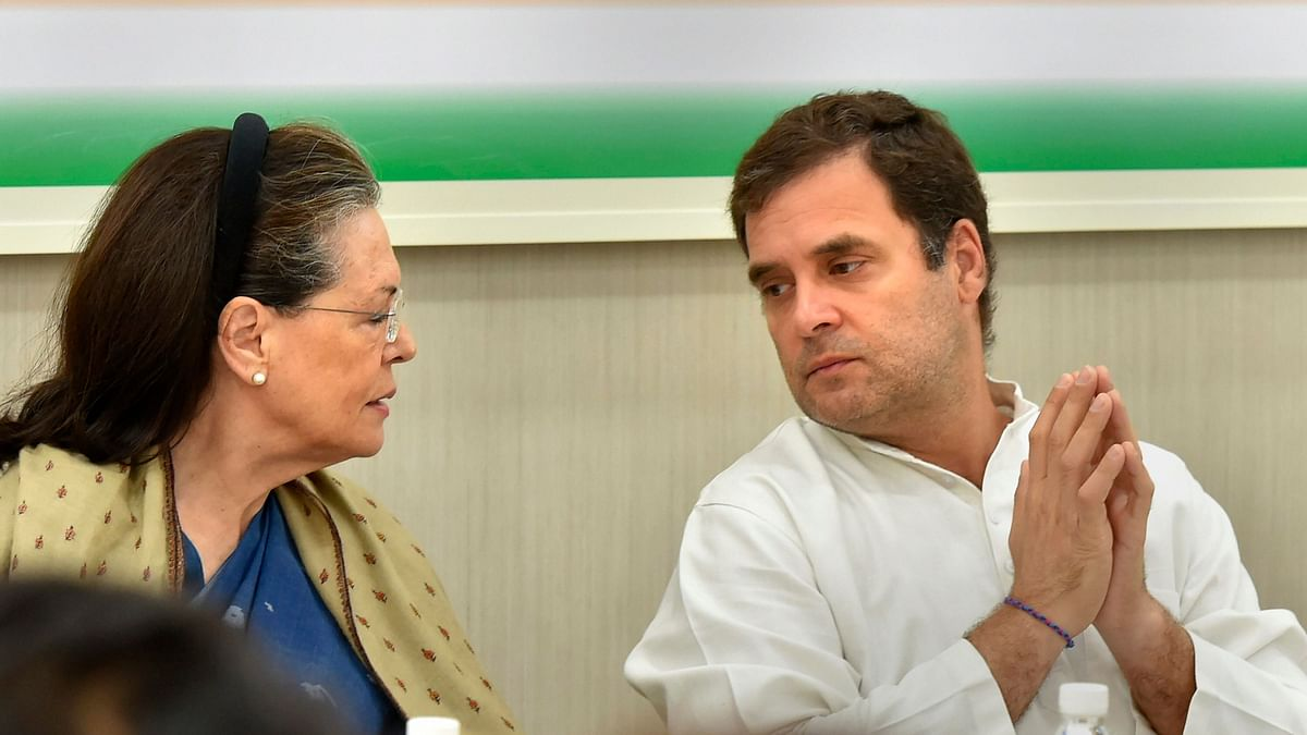 Congress President Rahul Gandhi (right) with former party chief Sonia Gandhi at the CWC meet after the results of the Lok Sabha elections.