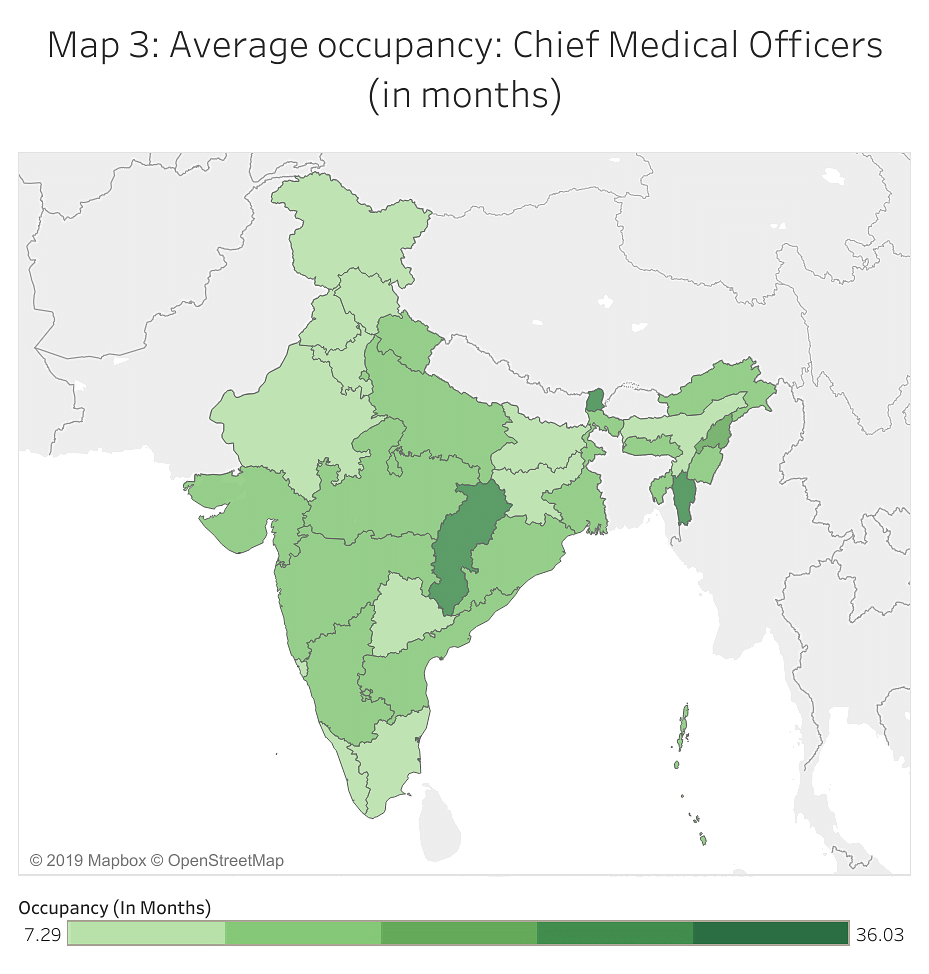 Map 3: Average occupancy: Chief Medical Officers (in months)
