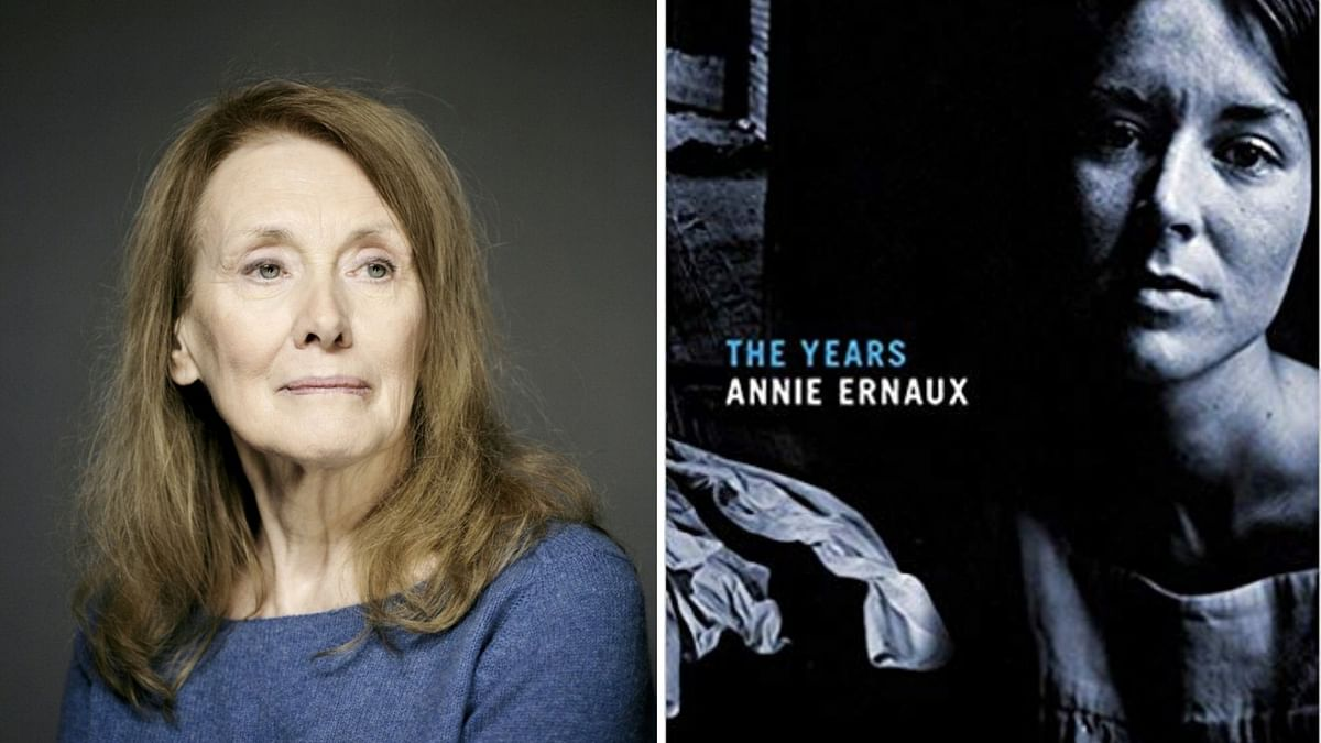 Annie Ernaux and her book.