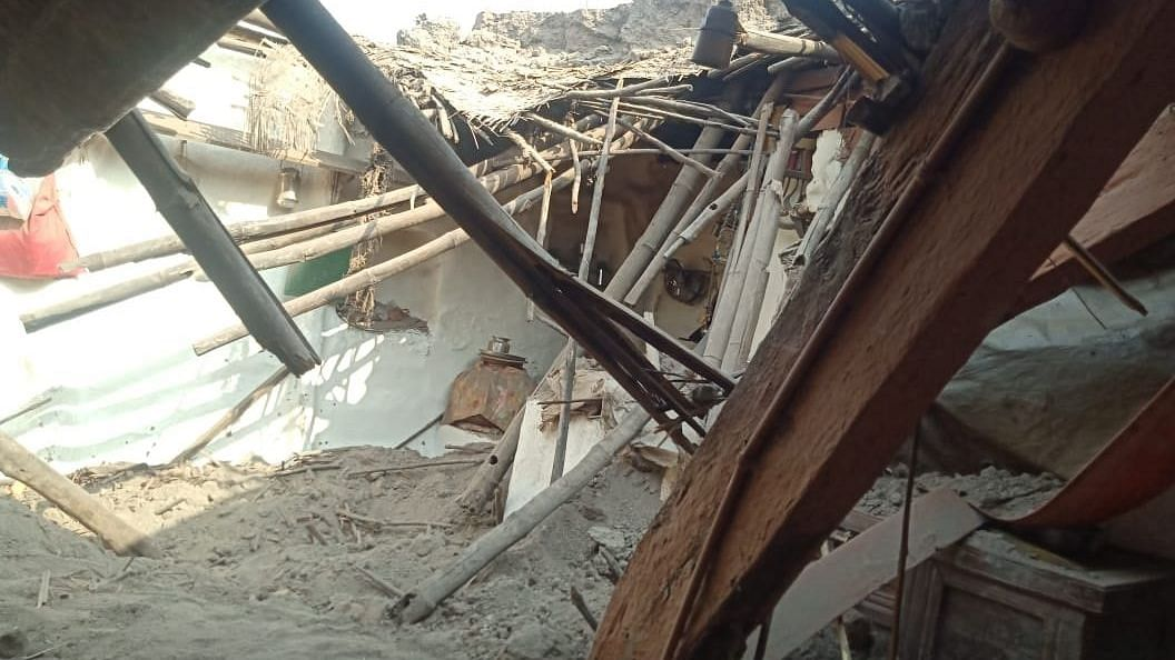 The house that collapsed in Yarguppi village in Karnataka's Dharwad district.