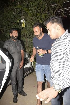 Mumbai: Actor Ajay Devgan seen outside a gym in Mumbai, on Jan 11, 2019. (Photo: IANS)