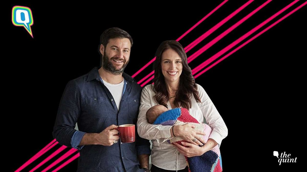 NZ PM Jacinda Ardern with Clarke Gayford and their daughter Neve Te Aroha