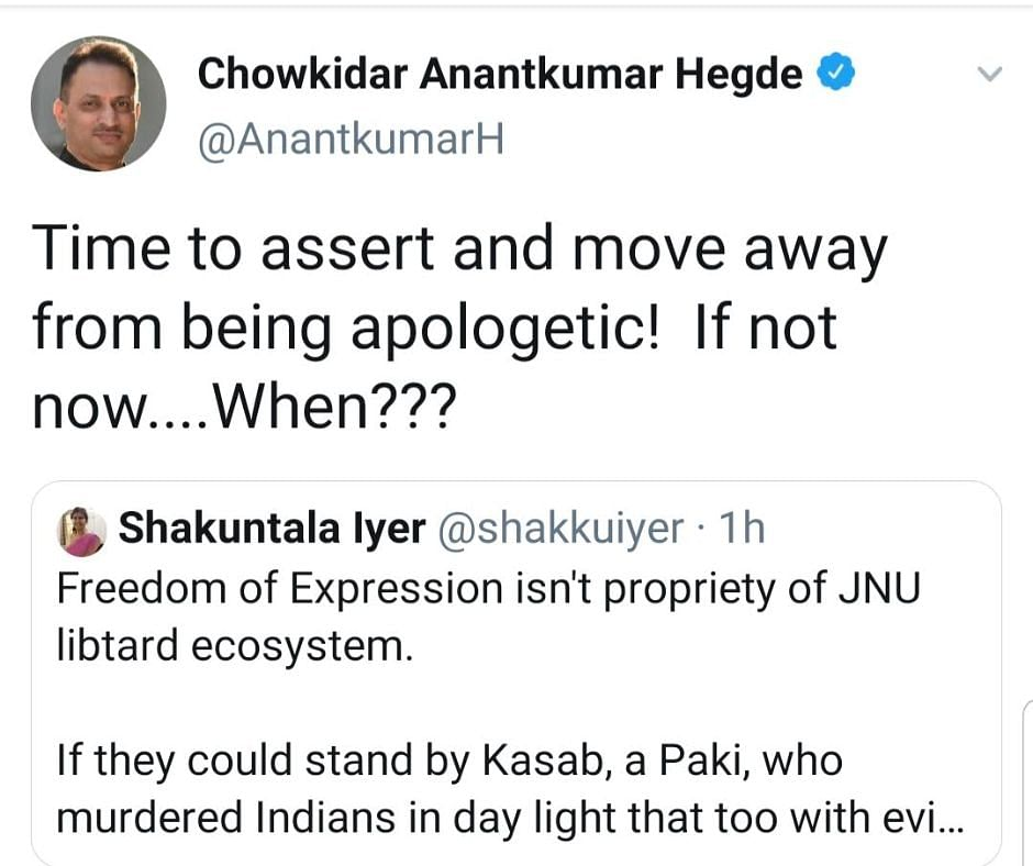 'Account Hacked': Anantkumar Hegde Deletes Tweets Supporting Godse