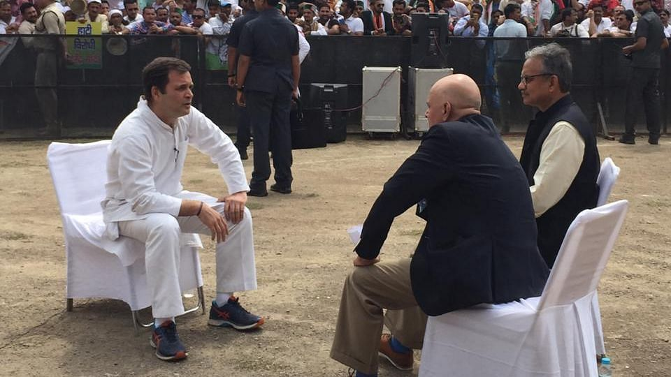 Rahul Gandhi speaks to The Quint's Raghav Bahl and Sanjay Pugalia in Solan.