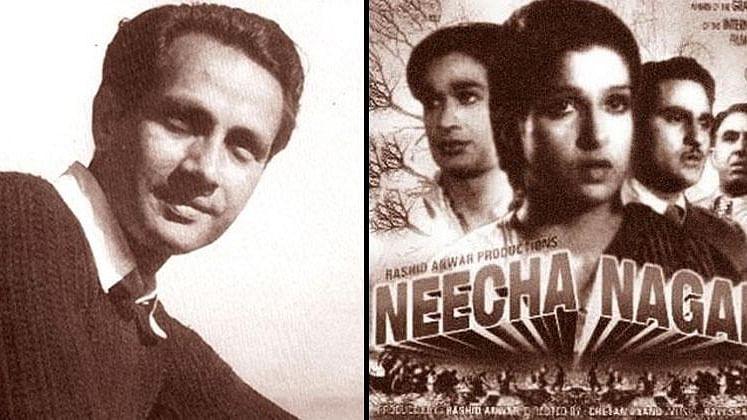 Director Chetan Anand and the poster of<i> Neecha Nagar</i>.