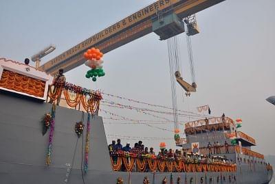 Kolkata: Indian Navy`s seventh `Landing Craft Utility` at Garden Reach Shipbuilders & Engineers (GRSE) dock in Kolkata, on Nov 24, 2016. (Photo: Kuntal Chakrabarty/IANS)