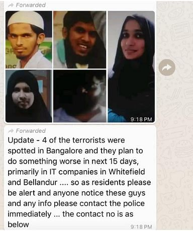 The message claims that four terrorists were found in Bengaluru.