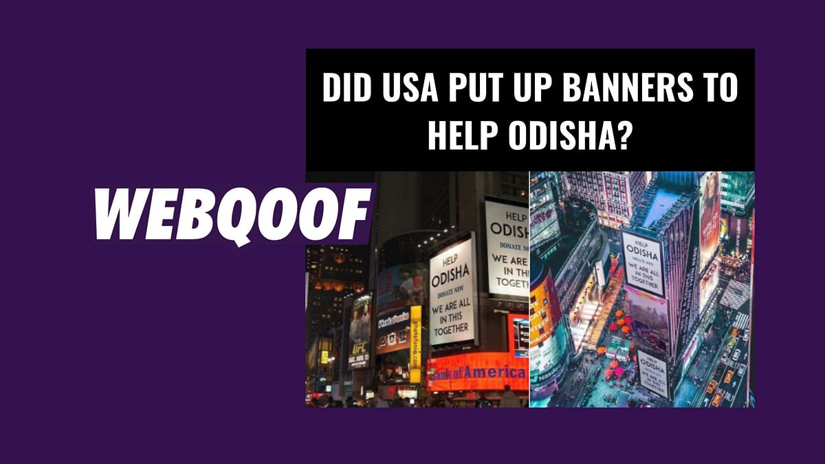 A viral image on social media falsely claims that places in the United States of America put up banners to help Odisha.