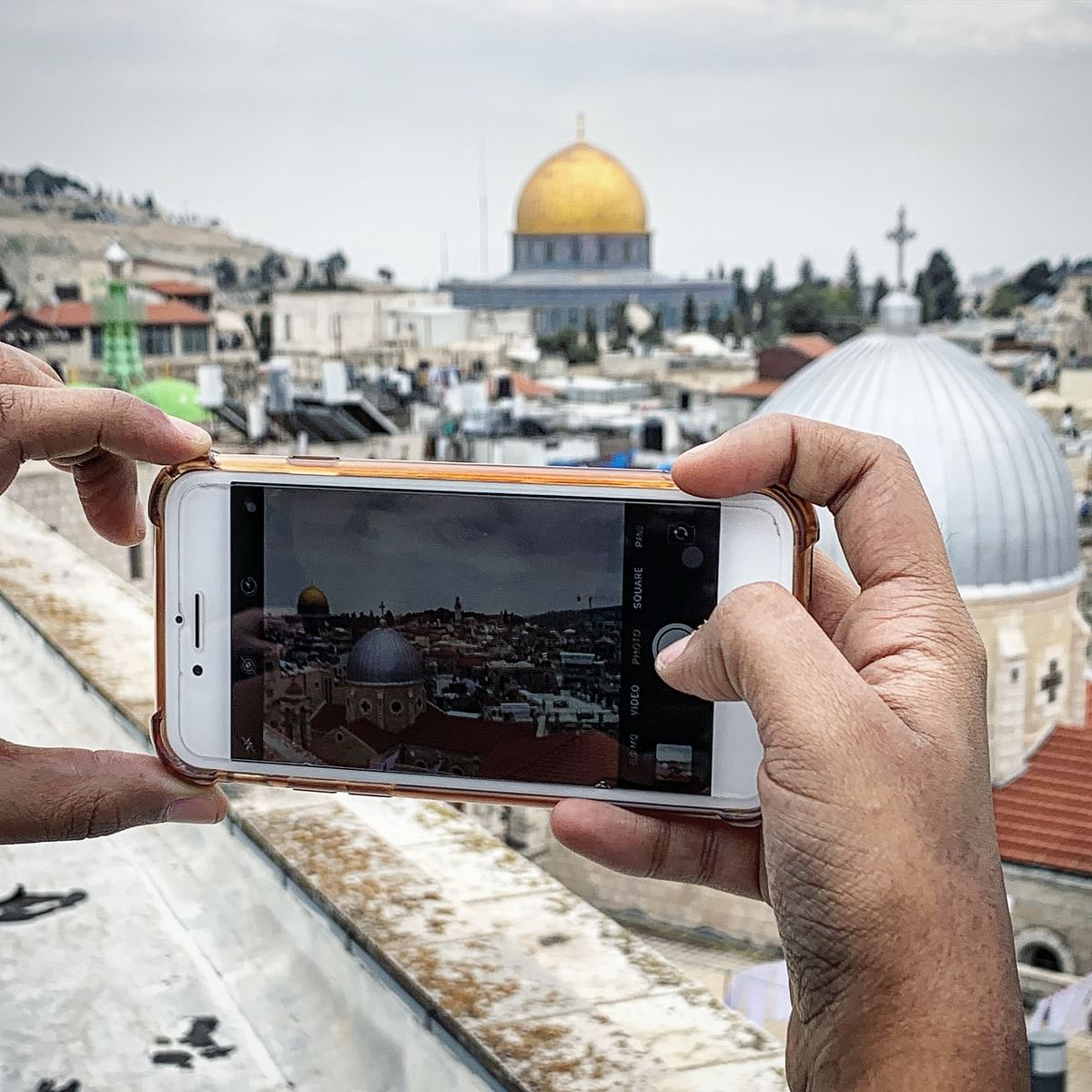 Views of the Dome of the Rock, a historic museum and the Old City from the Austrian hospice.