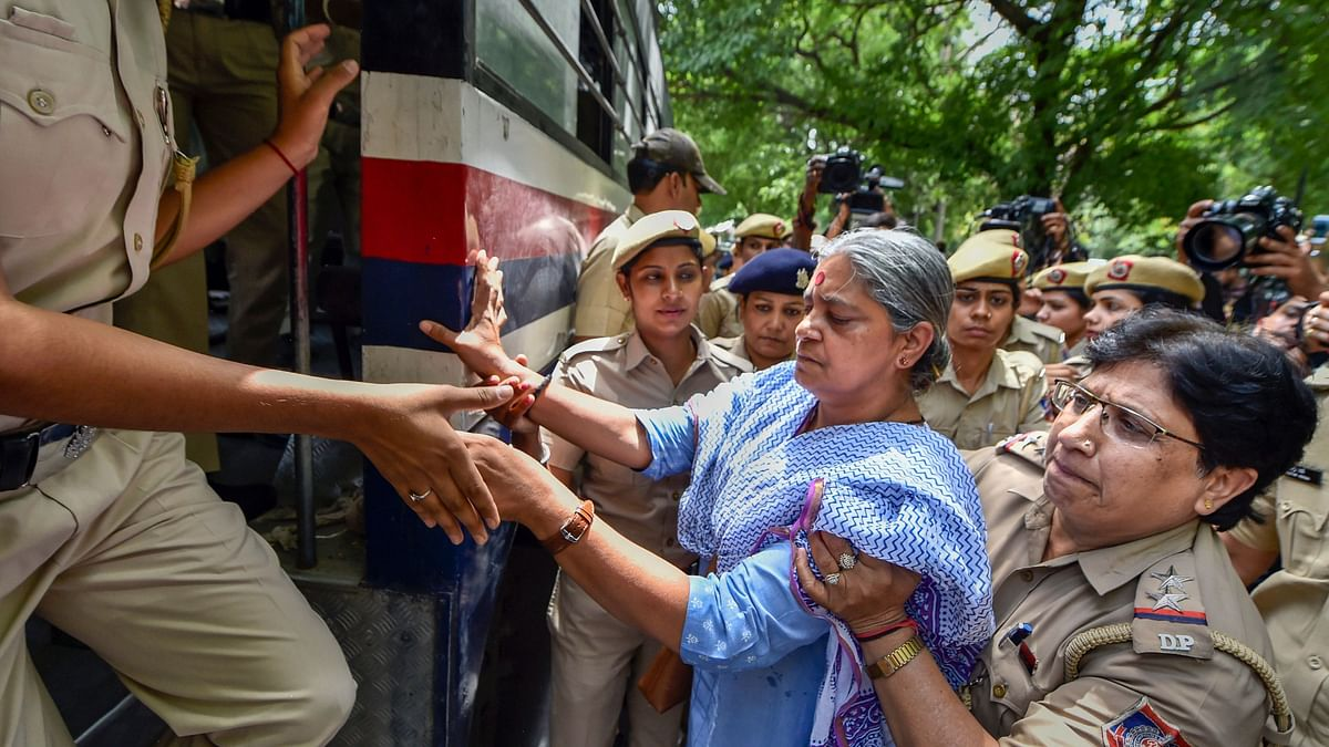 Protestors detained at demonstration against clean chit to CJI Gogoi.