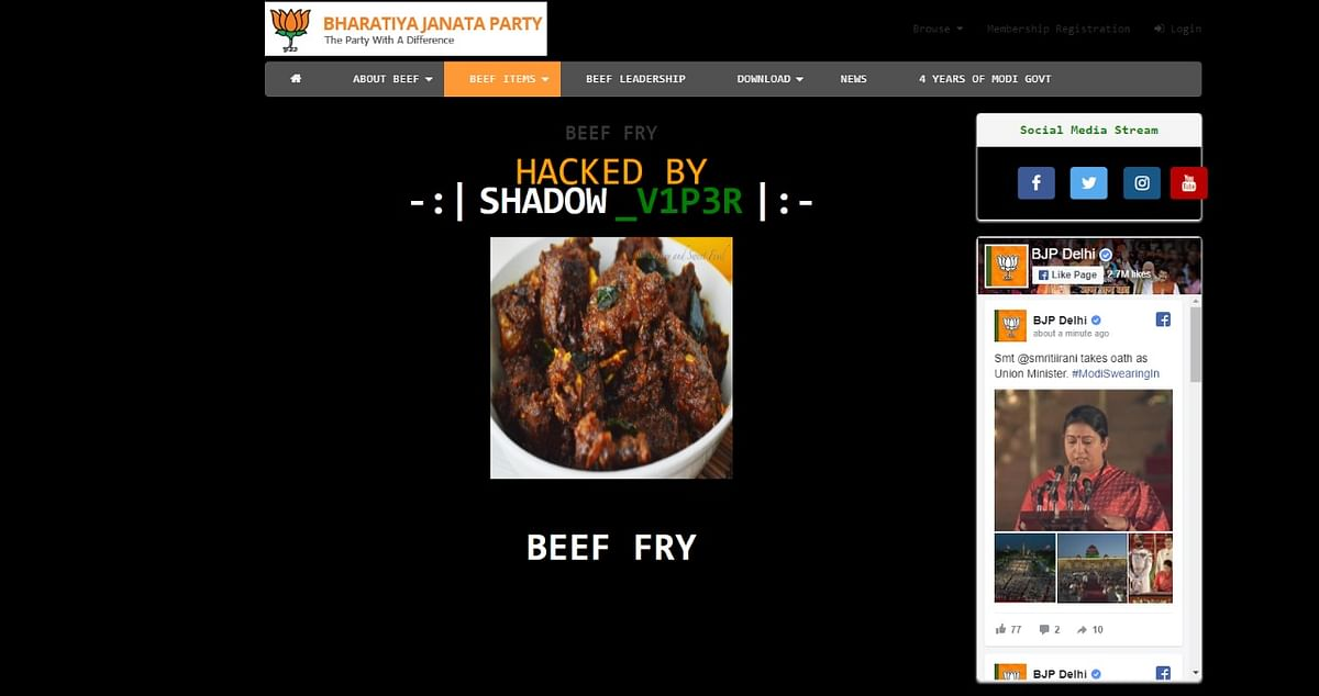 Beef items showing up on the unsecure Delhi BJP website.