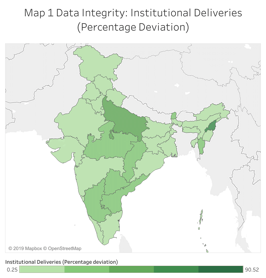 Map 1 Data Integrity: Institutional Deliveries (Percentage Deviation)