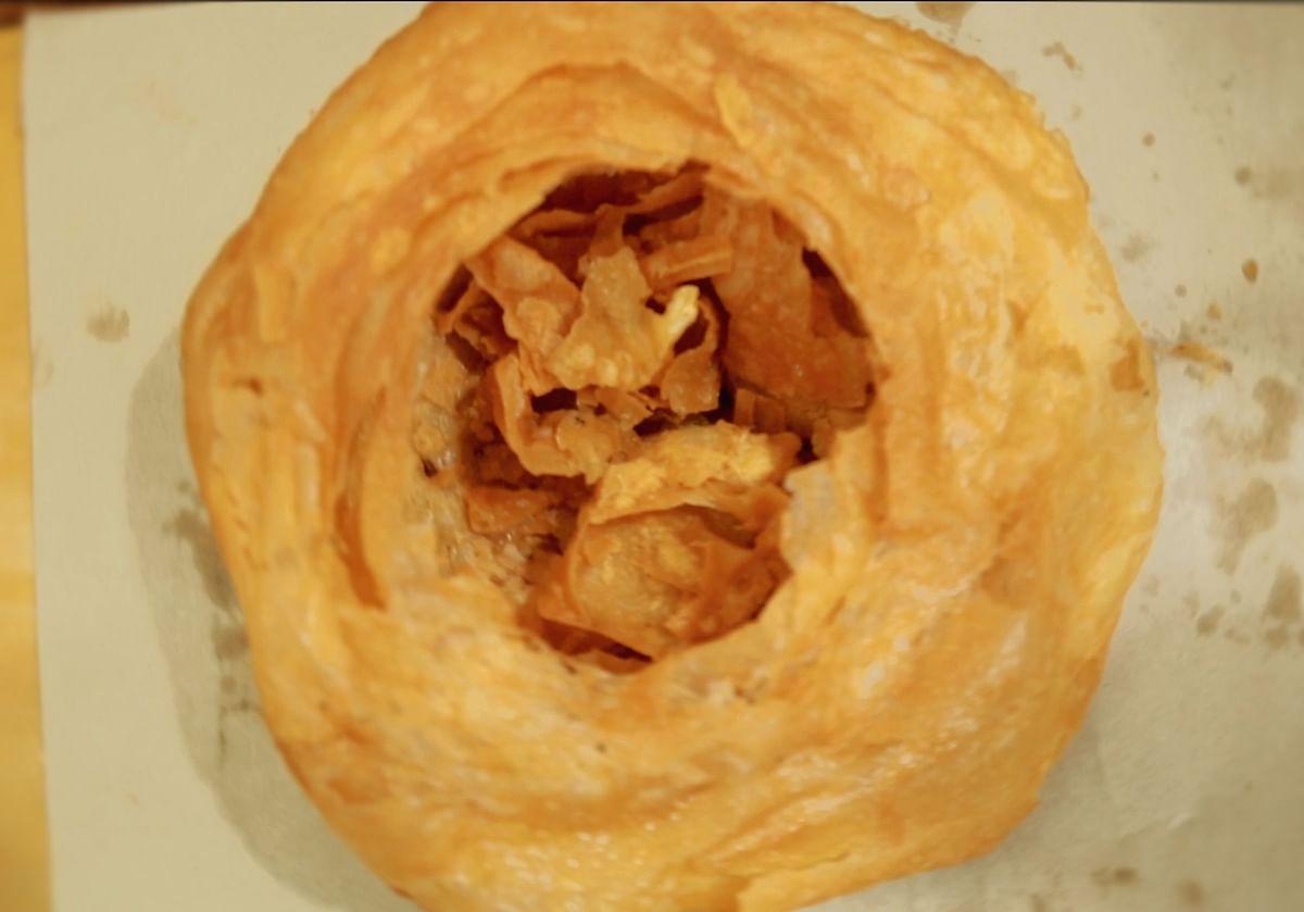 Freshly fried Khajla.