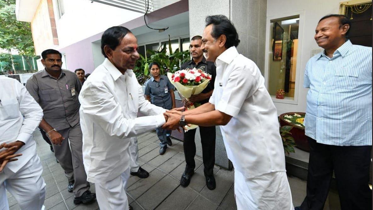 Telangana CM K Chandrashekhar Rao with DMK chief MK Stalin.