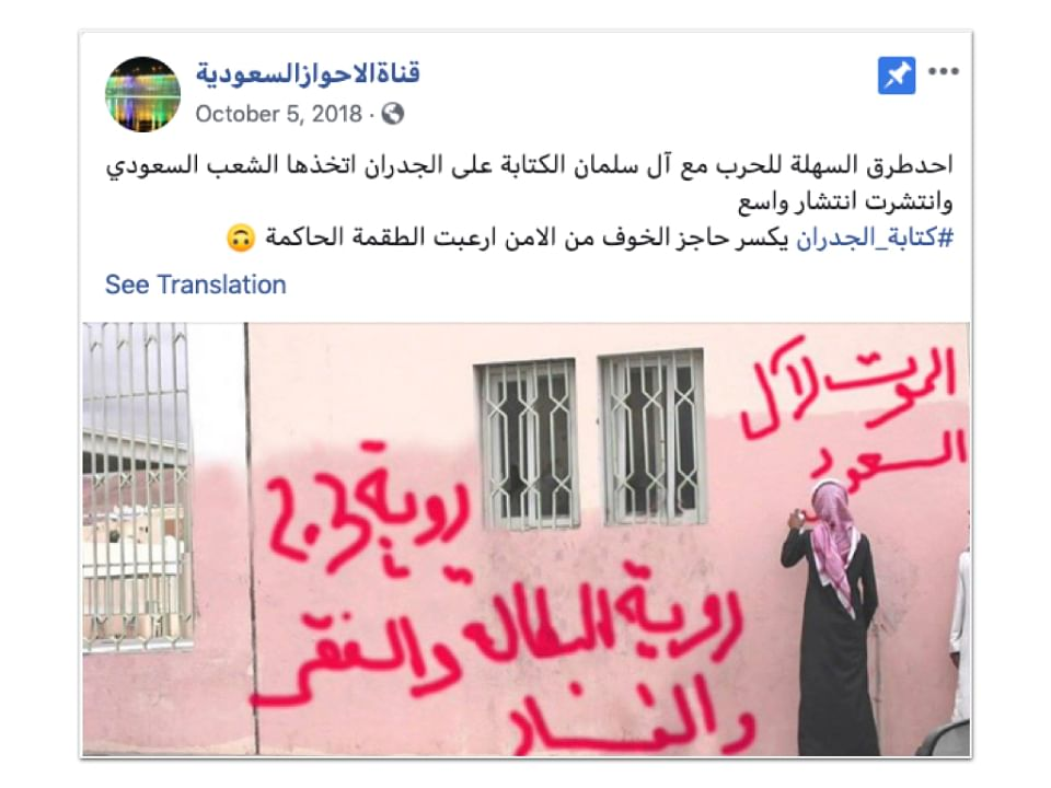 "A post says <b>""One of the easy ways to wage war against King Salman, youth have taken up writing anti-government slogans on walls. Breaking the barrier of fear of the security forces strikes terror into the rulers."" </b>The Graffiti, says, <b>""Death to the Al Saud // Vision 2030 – a vision of unemployment, poverty, and corruption""</b>"