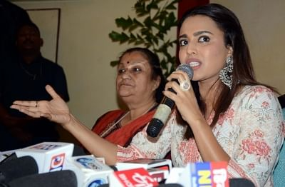 Bhopal: Actress Swara Bhaskar addresses a press conference in Bhopal, on May 6, 2019. (Photo: IANS)