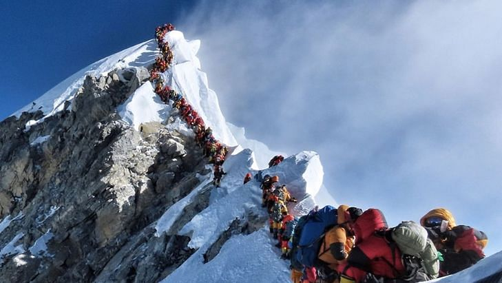 Long queue of climbers on the way to summit