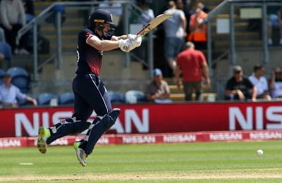 Cardiff : Eoin Morgan of England in action during the first Semi-final match of ICC Champions Trophy between England and Pakistan at Sophia Gardens in Cardiff, Wales, Britain on June 14, 2017. (Photo: Surjeet Yadav/IANS)