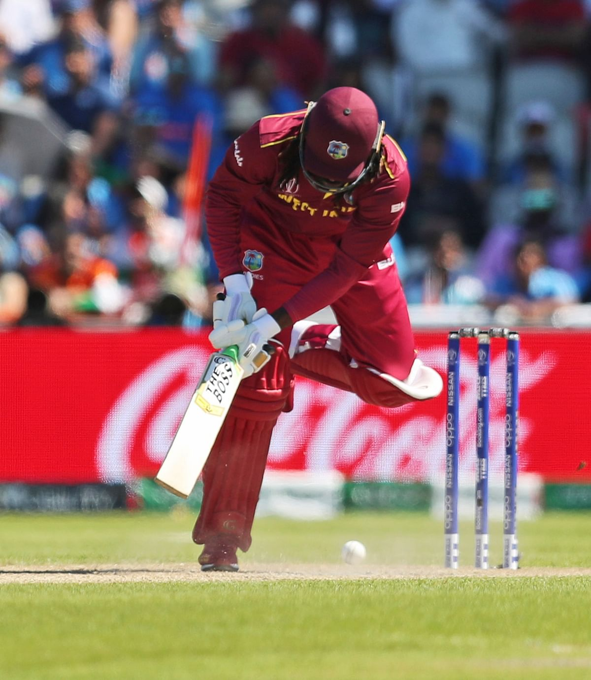 West Indies' Chris Gayle bats during the Cricket World Cup match between India and West Indies at Old Trafford.