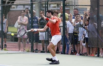 BELGRADE, June 19, 2019 (Xinhua) -- Novak Djokovic of Serbia returns the ball during an open training session in Belgrade, Serbia, June 19, 2019. (Xinhua/Predrag Milosavljevic/IANS)