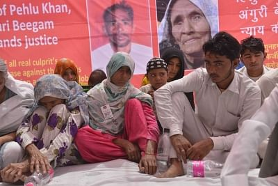 Pehlu Khan's family stage a sit-in demonstration to demand justice for him in New Delhi back in April 2017.